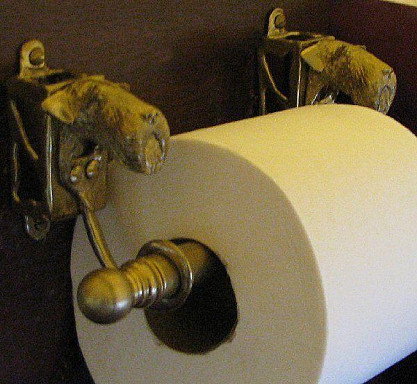 AIREDALE or WELSH TERRIER Bronze Toilet Paper Holder OR Paper Towel Holder!