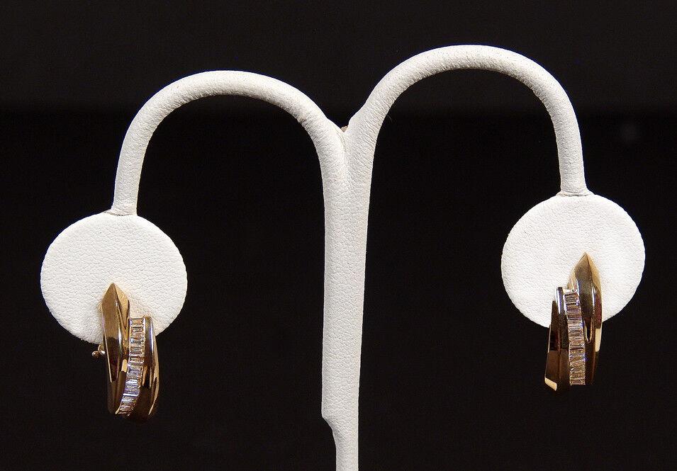 Genuine Diamond Baguette .91 CTW Channel Set J-Hoop 14K gold Earrings
