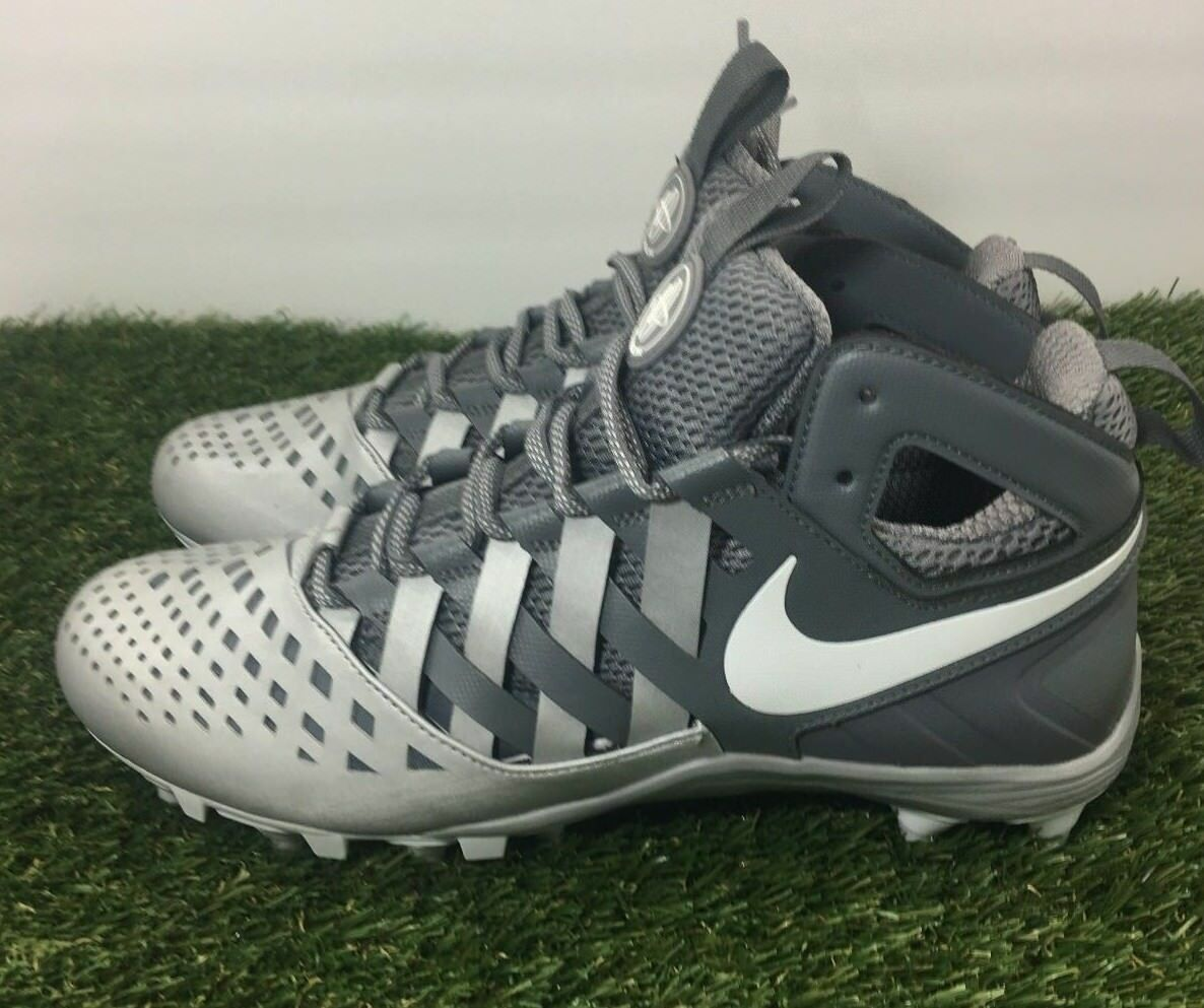 Nike Huarache V LAX Lacrosse Cleats Shoes Grey White 807142-010 Size 11