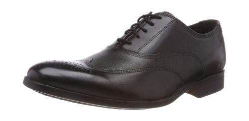 con para Zapatos hombre Clarks Clarks elegantes cuero y Brogues detalles de de negro cordones 6zw6AYq