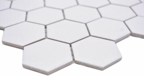 Céramique Mosaïque Hexagon Blanc r10 Mur Sol Cuisine Bain Douche Piscine 11h-0111-r10/_f