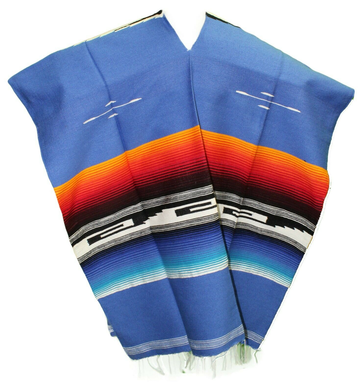 TRIBAL SERAPE Mexican PONCHO - Dusty Blue - ONE SIZE FITS ALL Blanket Gaban