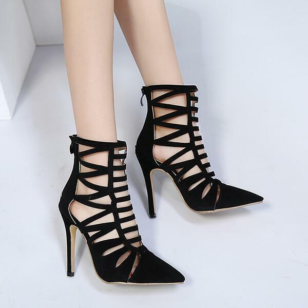 Decolte Sandale tacco 12 cm eleganti stiletto stiletto stiletto nero zip simil pelle comode 9488 fa6007