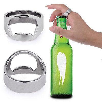 2 Pcs Wholesale Popular Creative Stainless Steel Finger Ring Beer Bottle Opener