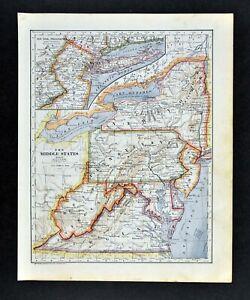 Map Of New York Pa.1896 Mathews Northrup Map New York Pennsylvania Jersey Maryland