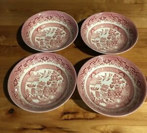 Churchill-BlueWillow-Pattern-Pink-Red-6-034-Salad-Cereal-Bowls-set-of-4