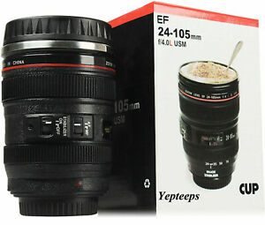 Yepteeps-Camera-Lens-Cup-Coffee-Tea-Travel-Mugs-Stainless-Steel-Thermos-amp-Lid