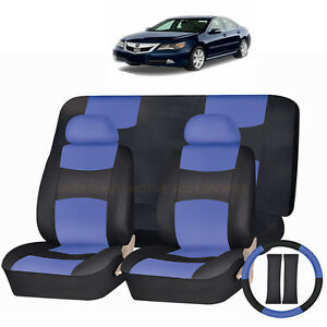 pu leather blue black seat covers 11pc set for acura tsx rdx tl mdx civic ebay. Black Bedroom Furniture Sets. Home Design Ideas