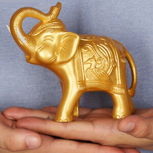Feng-Shui-Chinese-Lucky-Car-Decor-Charm-Money-Elephant-Figurine-Gold