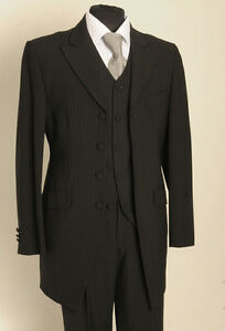 Image Is Loading Mj 156 Mens Boys Two Piece Black Pinstripe