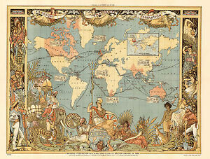 1886-Pictorial-Map-Extent-of-the-British-Empire-England-UK-Wall-Art-Print-Poster