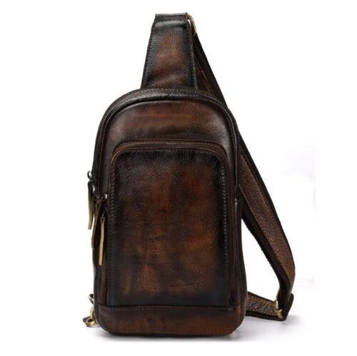 Men/'s Retro Genuine Cow Leather Chest Bag Shoulder Bag Travel Bag Purse Coffee