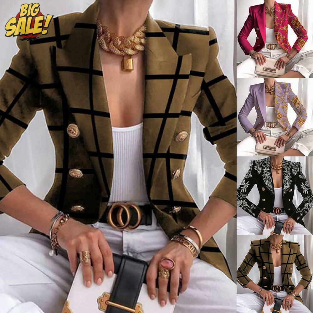 Womens Double Breasted Blazer Suit Military Jacket Lapel Slim Fit Outerwear Coat