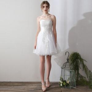 Details About Modern Wedding Dress Strapless Simple Romantic Lace Bridal Gown Mini Dress