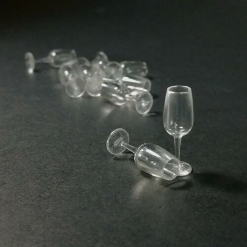 10 Pcs Plastic Wine Glass Dollhouse Miniature Drink Bottles Kitchenware 1:12