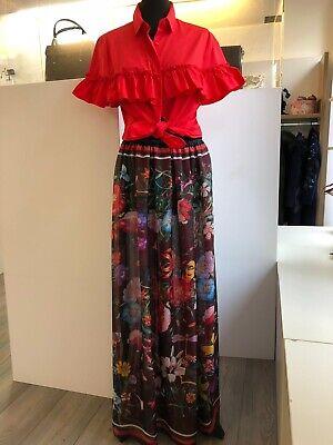 /maxi Skirt Flower Pattern Chiffon Blumen Wenderock Schwarz/rot onesize
