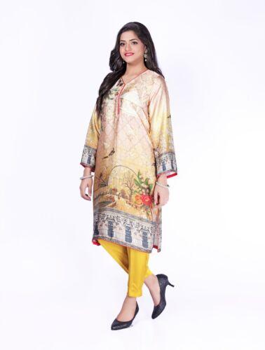 Indian Pakistani Designer Digital soie imprimé Chemise et pantalon-taille S à XXXL