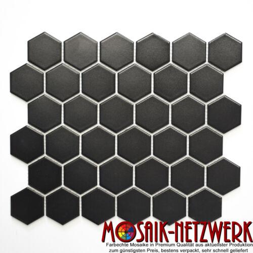 Mosaïque Carreau Céramique Hexagon Noir Mat Carreaux Miroir Cuisine Mur 11b-0311