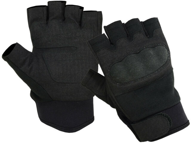 Tactical Hard Knuckle 1/2 Finger Military Airsoft Fingerless Shooting Gloves BLK