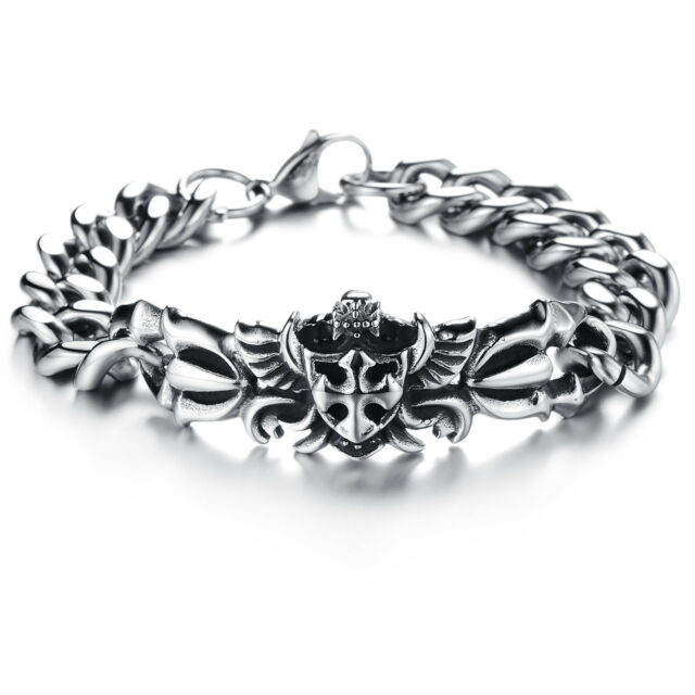 Large Heavy Stainless Steel  Fleur-de-lis Biker Mens Bangle Bracelet 8.6 Inch