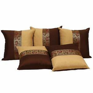 Silk-Ethnic-Lace-Work-Bedroom-Decor-Cushion-Covers-Brown-Set-of-5