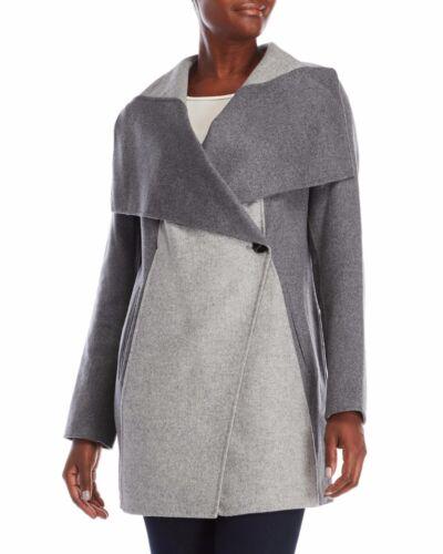 S MSRP NWT Diane von Furstenberg Women/'s Grey Shannon Color Block Coat $498