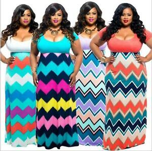 Details about Plus Size Dress short sleeve dress Multi Colored Wave printed  maxi dress XL-4XL