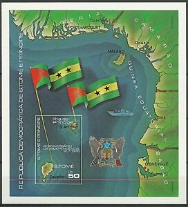 Sao-Tome-et-Principe-Carte-Drapeau-Flag-Flagge-Non-Dentele-Imperf-Proof-1978