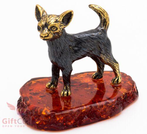 Solid Brass Amber Figurine of Chihuahua Dog IronWork