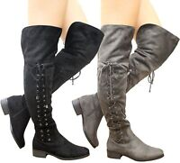 Ladies Womens Over The Knee Thigh High Lace Up Stretch Low Heel Boots Shoes Size