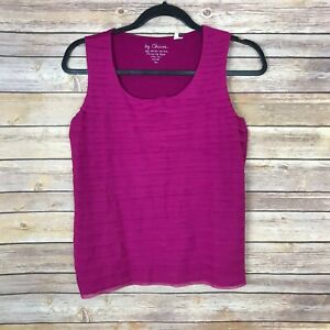 Chicos-0-Womens-Small-Scoop-Neck-Tiered-Front-Tank-Top-Stretch-Woven-Solid-Pink