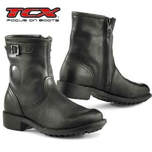 Stiefel-Von-Motorrad-Damen-TCX-Lady-Biker-Waterproof-IN-Leder-Verstaerkt-Black