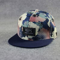 Men Women Floral Flower Snapback Hip-Hop Hats Flat Peak Adjustable Baseball Caps