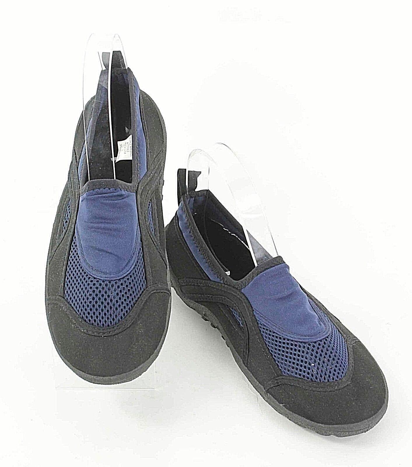 Aqua Fabric Water Sz 7 Black Blue Fabric Aqua Upper Slip-On Shoes E262 5b4582