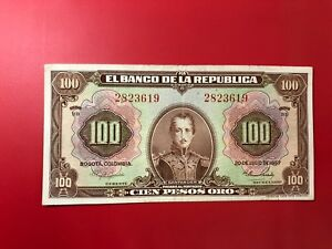 America-Colombia-100-Pesos-or-20-07-1957-1944-57-BB-P-394d