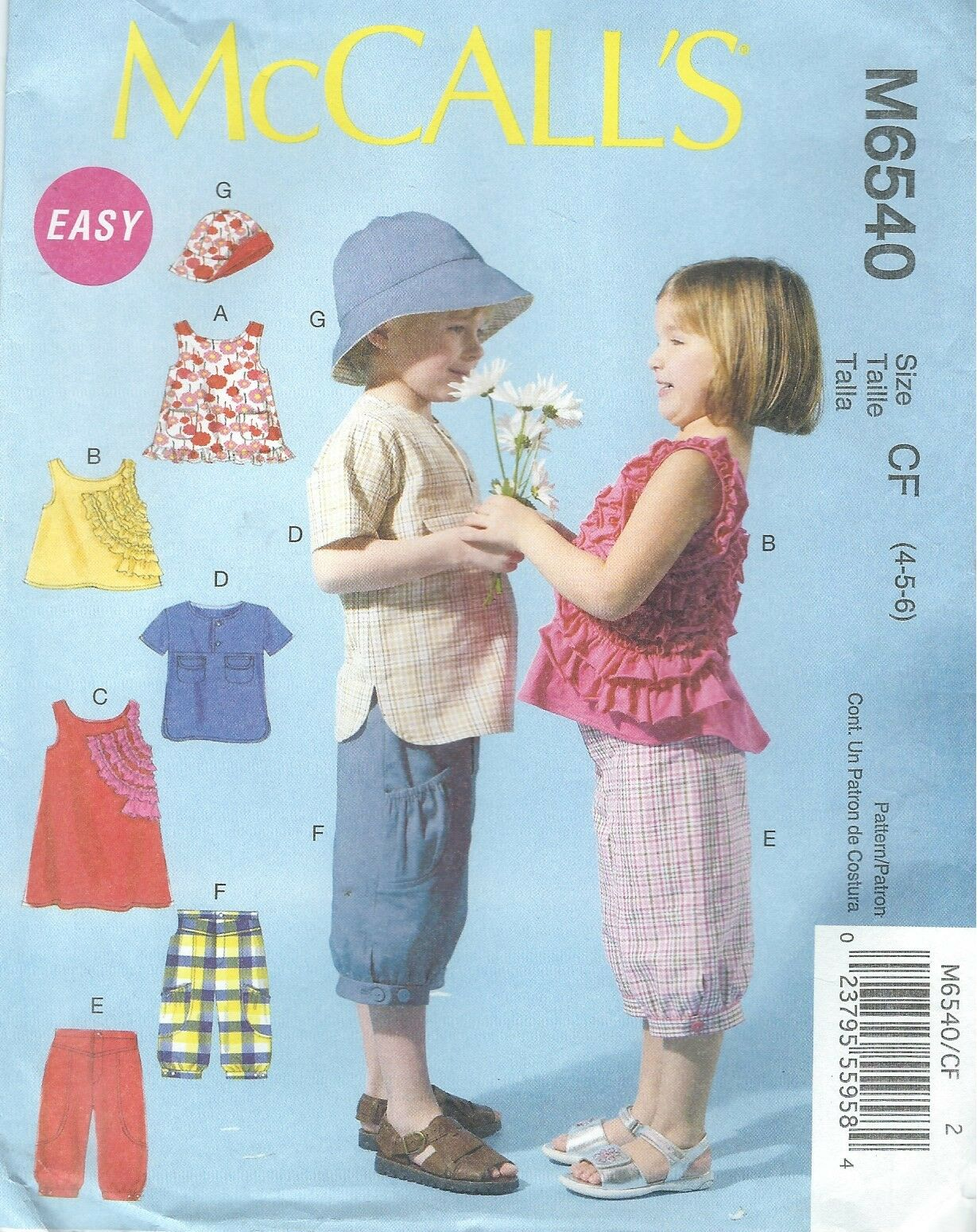 McCalls Patterns M6458 Toddlers//Childrens Tops and Pants 4-5-6 Size CF