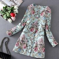 Womens Flower Floral New Ladies Party Embroidery Solid Parka Trench Coats Jacket