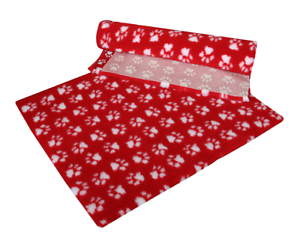 VETFLEECE-Non-Slip-Deep-Pile-Fleece-Vet-Bed-Roll-Dog-Cat-Red-With-White-Paws