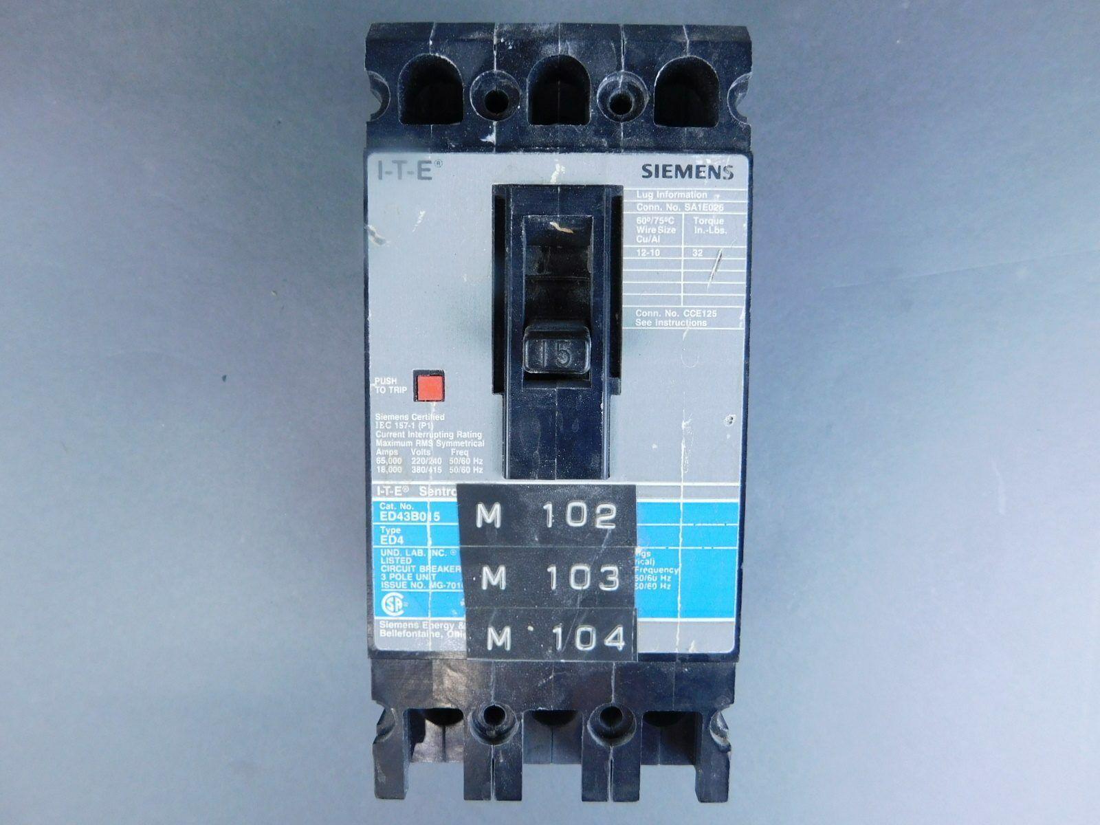 SIEMENS 15 AMP 3POLE 480VAC CIRCUIT BREAKER ED43B015 *kjs*