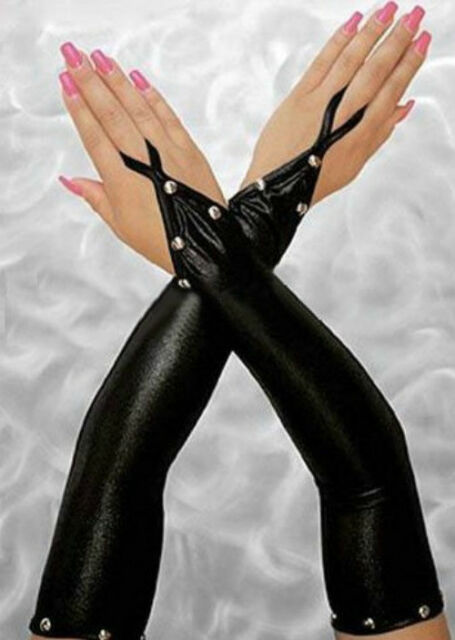 Black Vinyl Shiny Fingerless Gloves Silver Metal Stud Accents BDSM Lingerie 7084