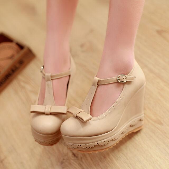 Womens T-strap New Platform Wedge Heel Bowknot Fashion Mary Jane Pumps Shoes