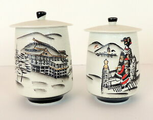Vintage-Japanese-Painted-Jars-With-Lids-Canister-Porcelain-Made-In-Japan-Marked