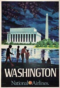 Original Vintage Poster WASHINGTON NATIONAL AIRLINES Airline Travel Monument OL