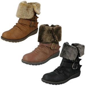 SALE-LADIES-SPOT-ON-FUR-TRIM-LOW-HEEL-WARM-CASUAL-WINTER-ANKLE-BOOTS-F50274-SIZE