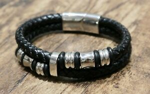 Mens-Magnetic-Buckle-Bracelet-Bangle-Cuff-Black-Leather-Braided-Stainless-Steel