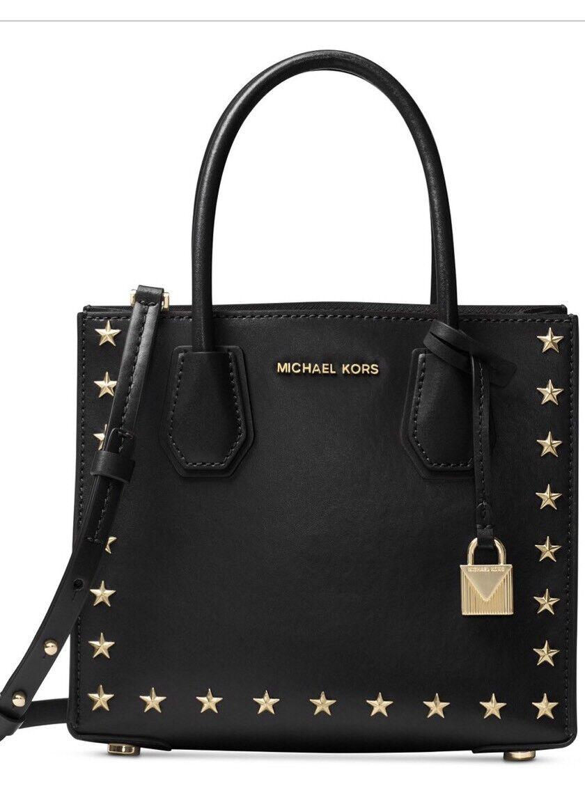 8fb1bdbafd2 Michael Kors Mercer Studded MD Messenger Gold Star Trim Studs Bag ...