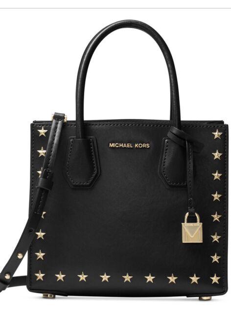 New Michael Kors Mercer Studded Md Messenger Gold Star Trim Studs Bag Black Tote