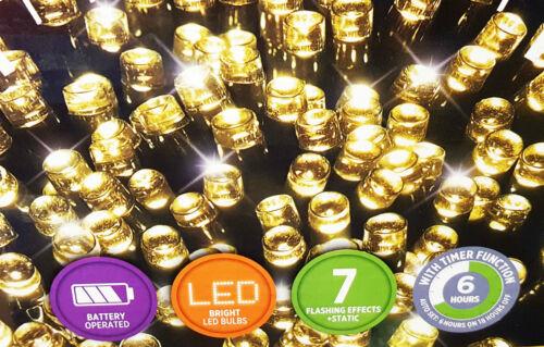 100 DEL alimenté par batterie multi action lumières de Noël avec minuteur indoor//outdoor