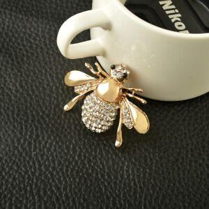 Broche-Animale-En-Strass-Broche-D-039-abeille-En-Or-En-Alliage-Mignon-Bijoux-DE-A6E1