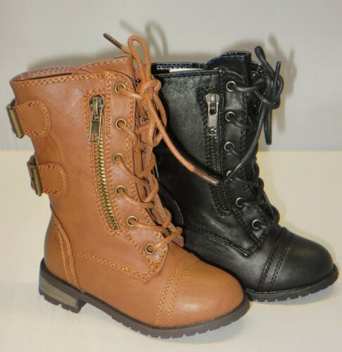 Up Boots Ankle Boots TODDLER Black Tan Girl Military Boots Lace mango61ka